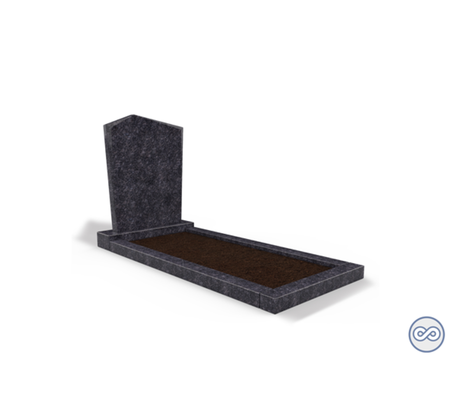 Staande grafsteen model 'Modern' met omranding en grond in de kleur Steel Grey