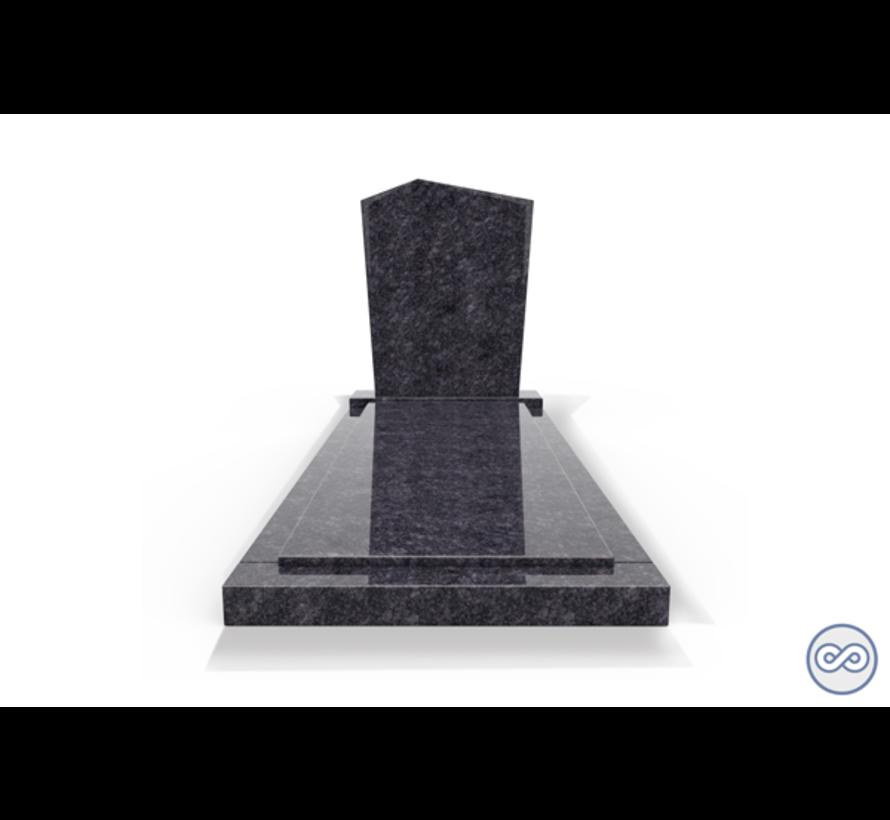 Staande grafsteen model 'Modern' met afdekplaat in de kleur Steel Grey