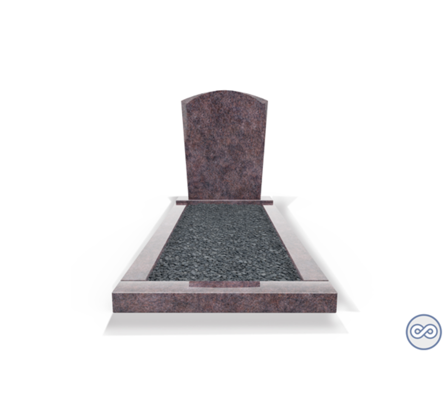 Staande grafsteen model 'Toog' met omranding en donker grind in de kleur Himalaya Blue