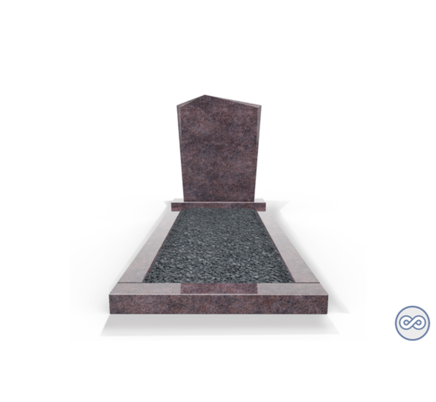 Staande grafsteen model 'Modern' met omranding en donker grind in de kleur Himalaya Blue