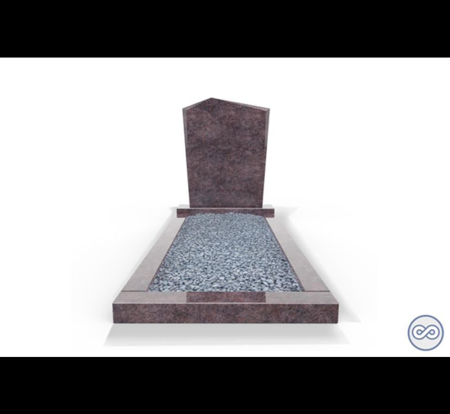 Staande grafsteen model 'Modern' met omranding en licht grind in de kleur Himalaya Blue