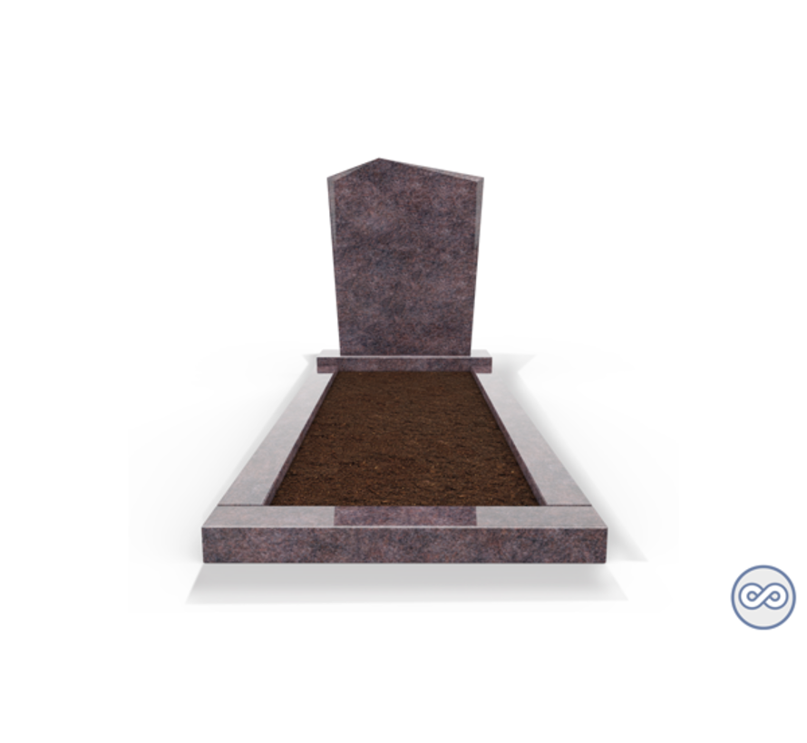 Staande grafsteen model 'Modern' met omranding en grond in de kleur Himalaya Blue