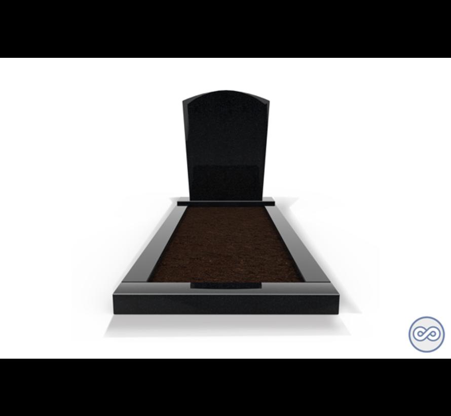 Staande grafsteen model 'Toog' met omranding en grond in de kleur Zwart Graniet