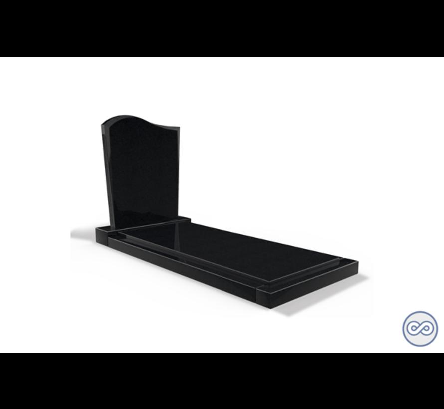Staande grafsteen model 'Golf' met afdekplaat in de kleur Zwart Graniet
