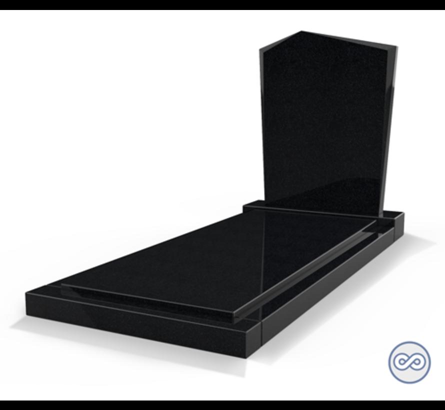 Staande grafsteen model 'Modern' met afdekplaat in de kleur Zwart Graniet