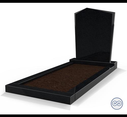 Grafsteenwinkel Staande grafsteen model 'Modern' met omranding en grond in de kleur Zwart Graniet