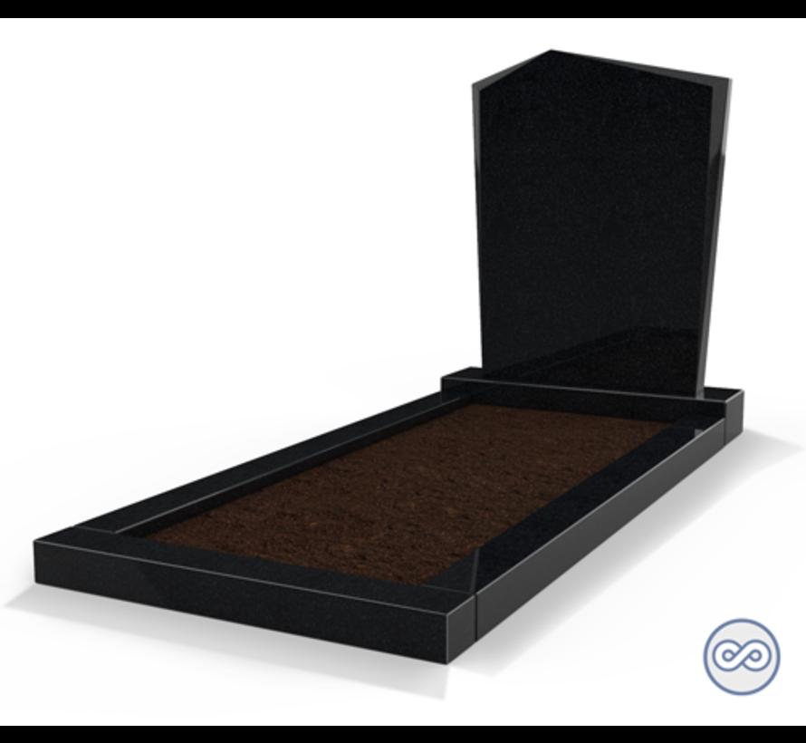 Staande grafsteen model 'Modern' met omranding en grond in de kleur Zwart Graniet