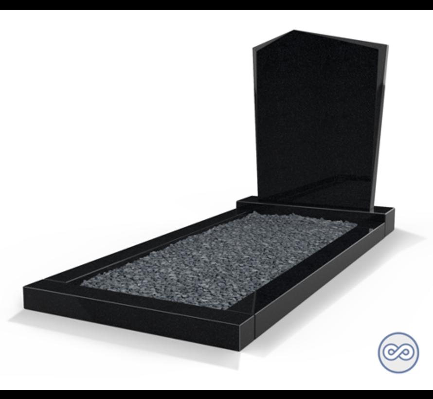 Staande grafsteen model 'Modern' met omranding en donker grind in de kleur Zwart Graniet
