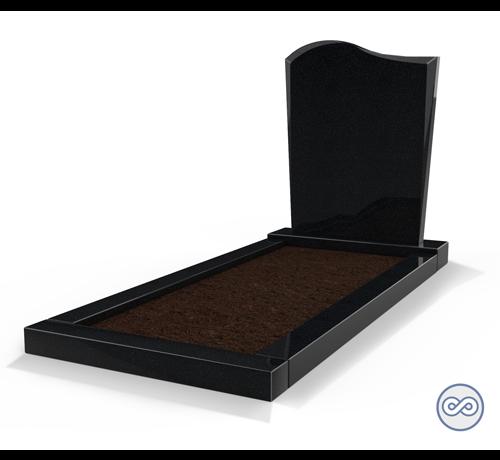 Grafsteenwinkel Staande grafsteen model 'Golf' met omranding en grond in de kleur Zwart Graniet