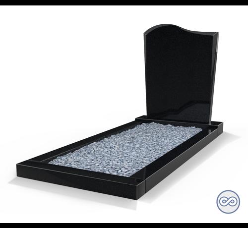 Grafsteenwinkel Staande grafsteen model 'Golf' met omranding en licht grind in de kleur Zwart Graniet