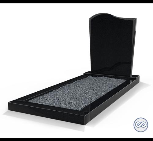 Grafsteenwinkel Staande grafsteen model 'Golf' met een omranding en donker grind in de kleur Zwart Graniet