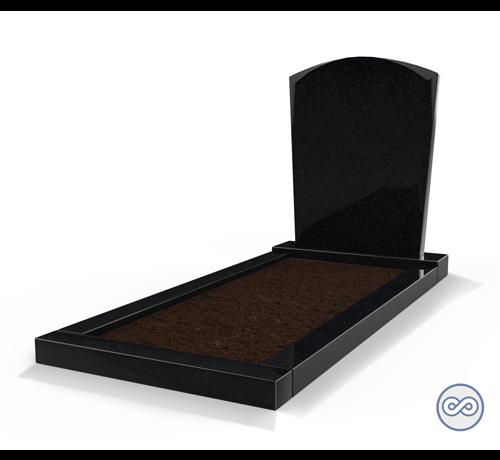 Grafsteenwinkel Staande grafsteen model 'Toog' met omranding en grond in de kleur Zwart Graniet