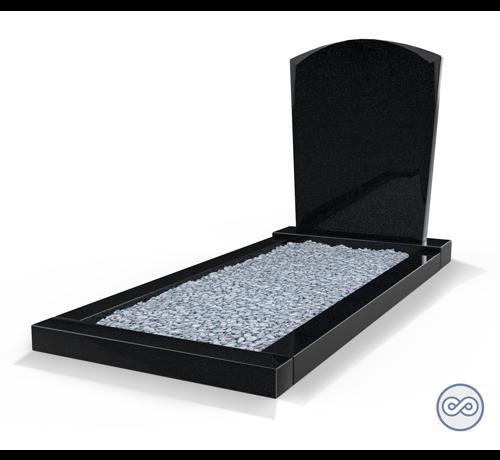 Grafsteenwinkel Staande grafsteen model 'Toog' met omranding en licht grind in de kleur Zwart Graniet