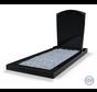 Staande grafsteen model 'Toog' met omranding en licht grind in de kleur Zwart Graniet