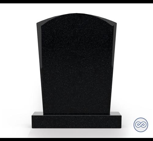 Grafsteenwinkel Staande grafsteen model 'Toog' letterplaat in de kleur Zwart Graniet