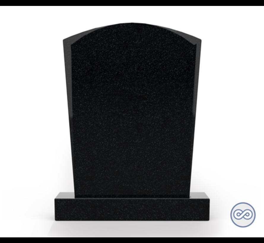Staande grafsteen model 'Toog' letterplaat in de kleur Zwart Graniet