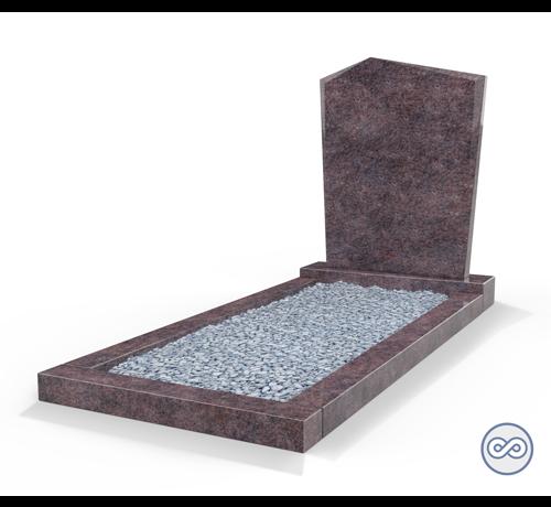 Grafsteenwinkel Staande grafsteen model 'Modern' met omranding en licht grind in de kleur Himalaya Blue