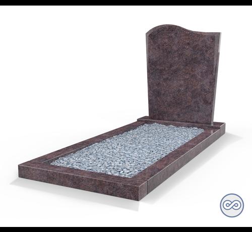 Grafsteenwinkel Staande grafsteen model 'Golf' met omranding en licht grind in de kleur Himalaya Blue