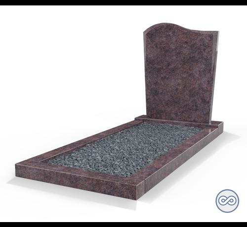Grafsteenwinkel Staande grafsteen model 'Golf' met omranding en donker grind in de kleur Himalaya Blue
