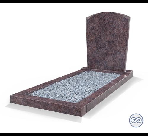 Grafsteenwinkel Staande grafsteen model 'Toog' met omranding en licht grind in de kleur Himalaya Blue
