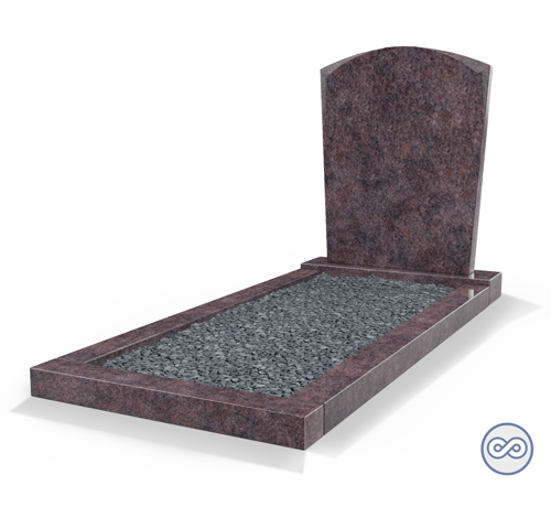 Grafsteenwinkel Staande grafsteen model 'Toog' met omranding en donker grind in de kleur Himalaya Blue