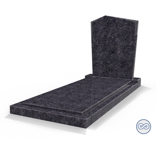 Grafsteenwinkel Staande grafsteen model 'Modern' met afdekplaat in de kleur Steel Grey