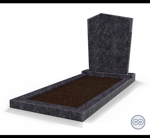 Grafsteenwinkel Staande grafsteen model 'Modern' met omranding en grond in de kleur Steel Grey