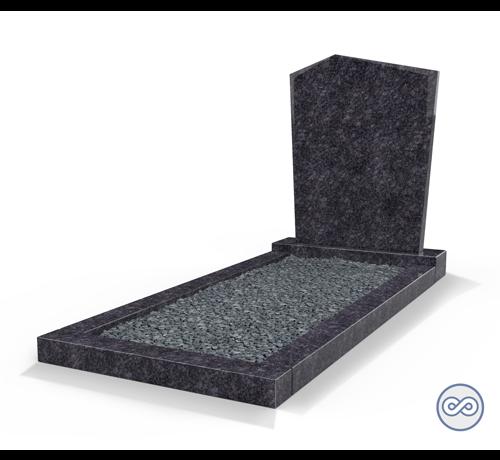Grafsteenwinkel Staande grafsteen model 'Modern' met omranding en donker grind in de kleur Steel Grey