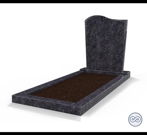 Grafsteenwinkel Staande grafsteen model 'Golf' met omranding en grond in de kleur Steel Grey