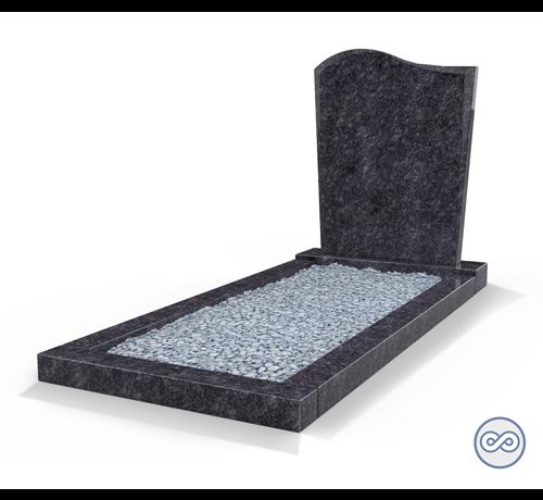 Grafsteenwinkel Staande grafsteen model 'Golf' met omranding en licht grind in de kleur Steel Grey
