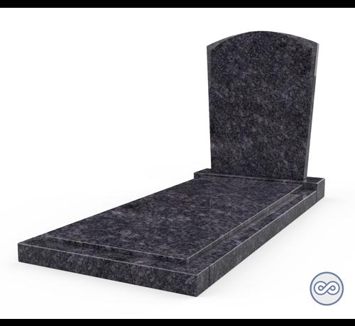 Grafsteenwinkel Staande grafsteen model 'Toog' met afdekplaat in de kleur Steel Grey
