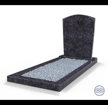 Grafsteenwinkel Staande grafsteen Toog met omranding en licht grind Steel Grey