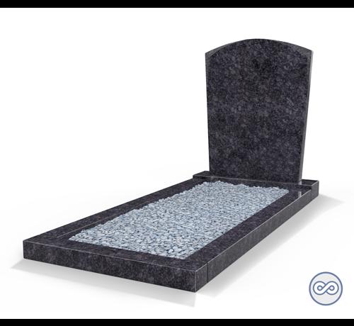Grafsteenwinkel Staand grafsteen model 'Toog' met omranding en licht grind in de kleur Steel Grey