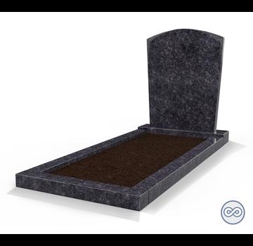 Grafsteenwinkel Staande grafsteen Toog met omranding en grond Steel Grey