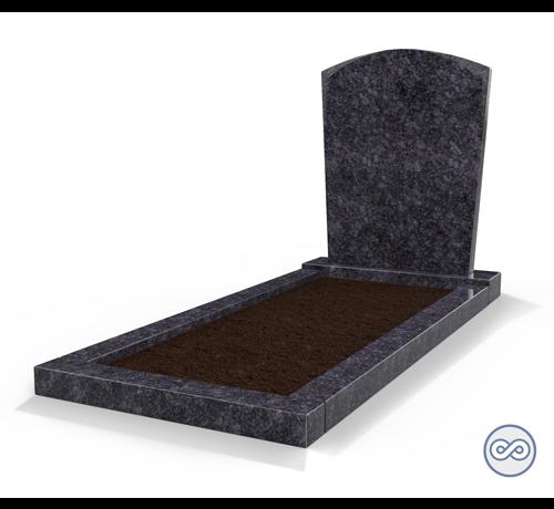 Grafsteenwinkel Staande grafsteen model 'Toog' met omranding en grond in de kleur Steel Grey