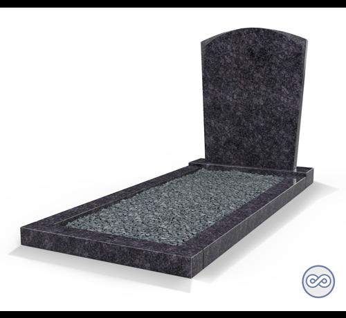 Grafsteenwinkel Staande grafsteen model 'Toog' met omranding en donker grind in de kleur Steel Grey