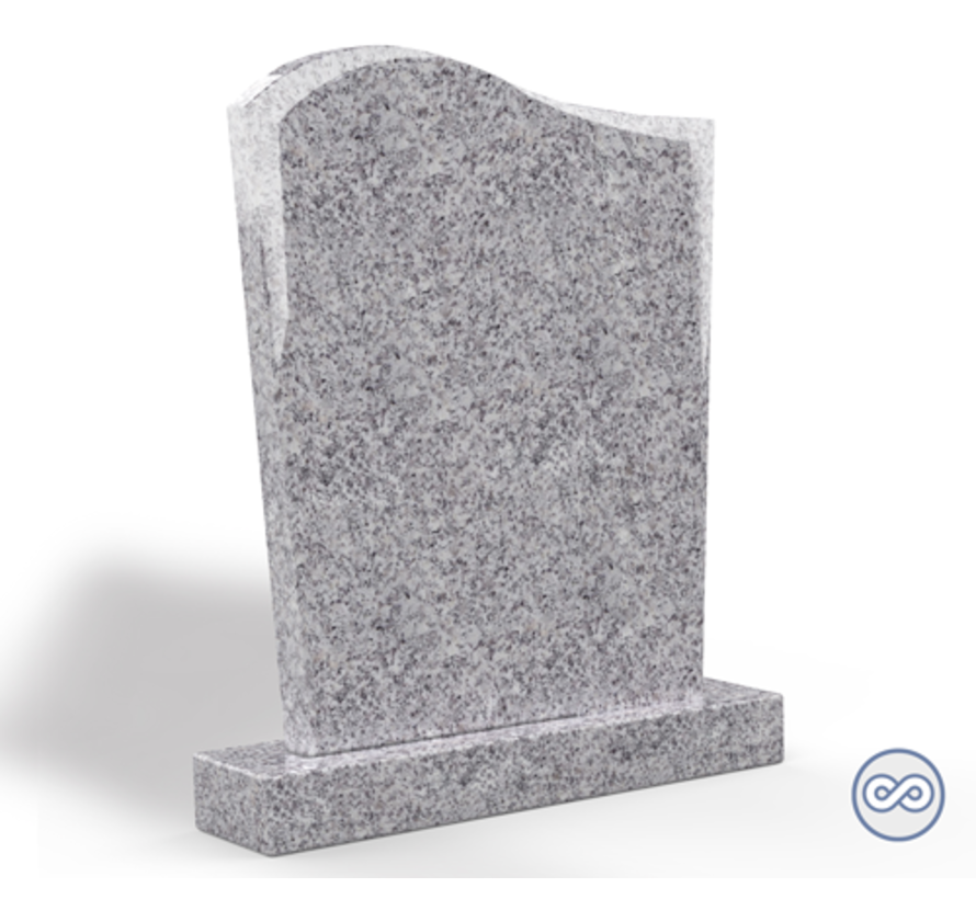 Staande grafsteen model 'Golf' in de kleur Glittery White
