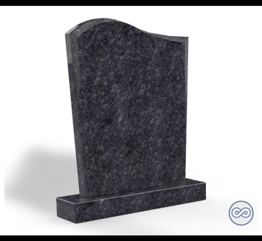 Staande grafsteen model 'Golf' letterplaat in de kleur Steel Grey