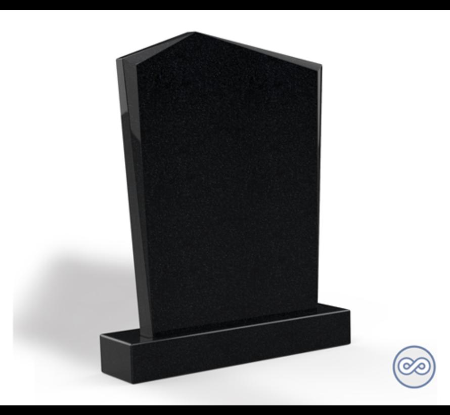 Staande grafsteen model 'Modern' letterplaat in de kleur Zwart Graniet