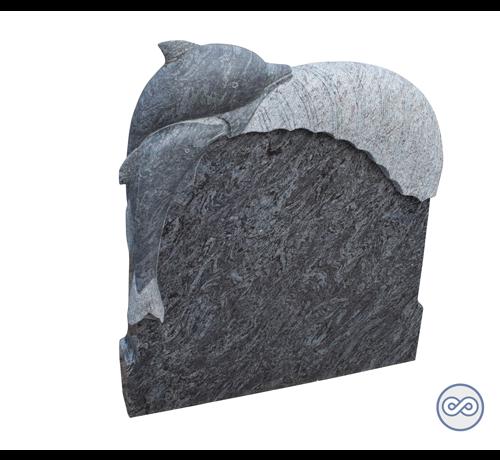 Grafsteenwinkel Staande steen met dolfijn