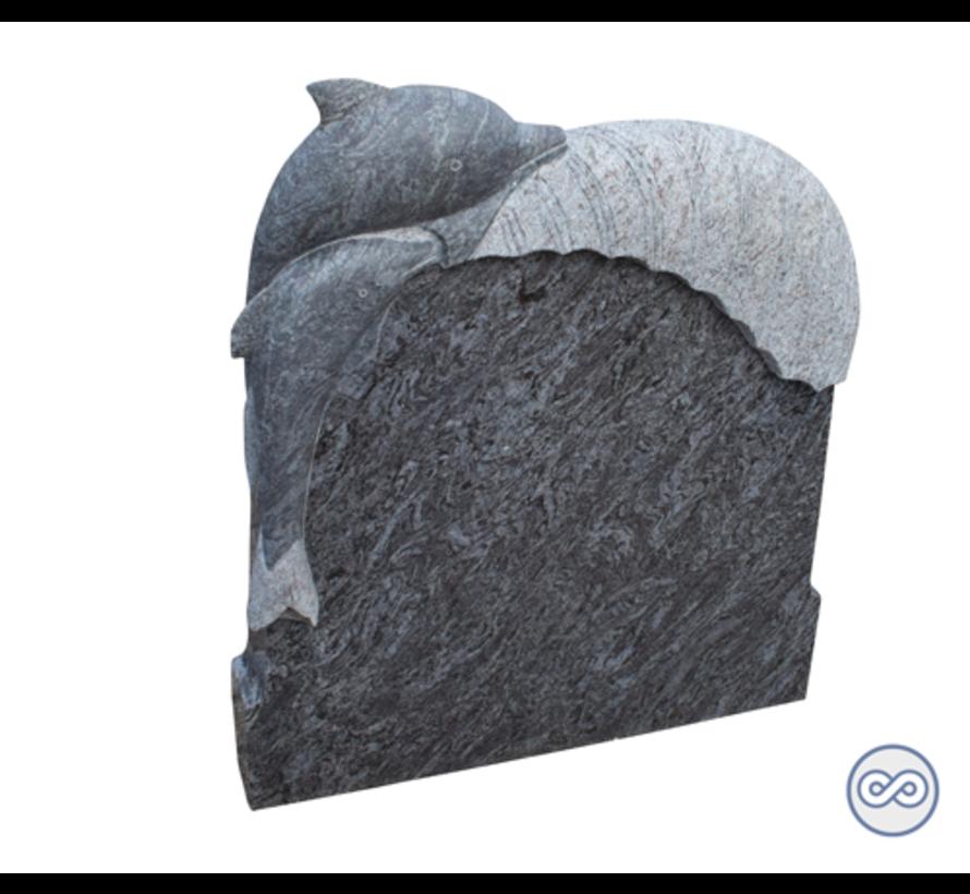 Staande steen met dolfijn