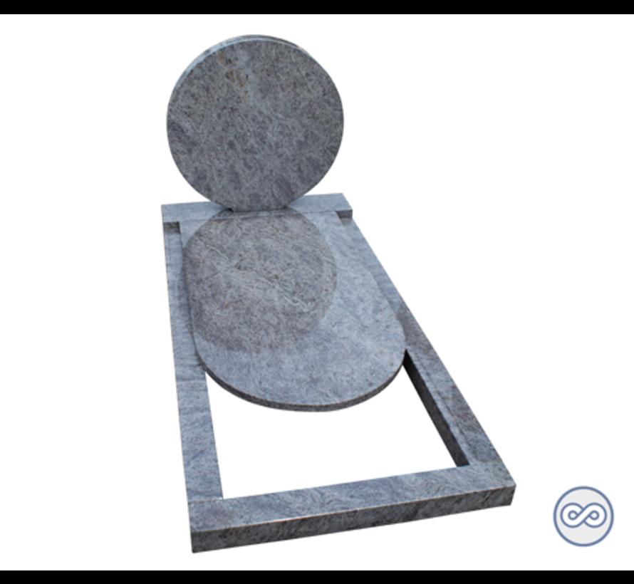 Ronde grafsteen op voetstuk met gedeeltelijke afdekplaat