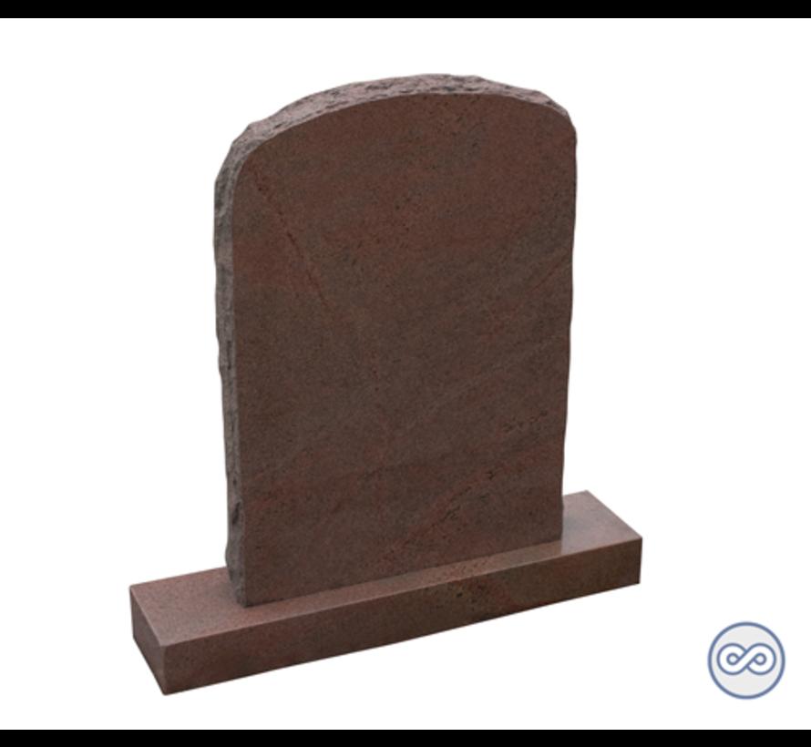 Rode grafsteen op voetstuk