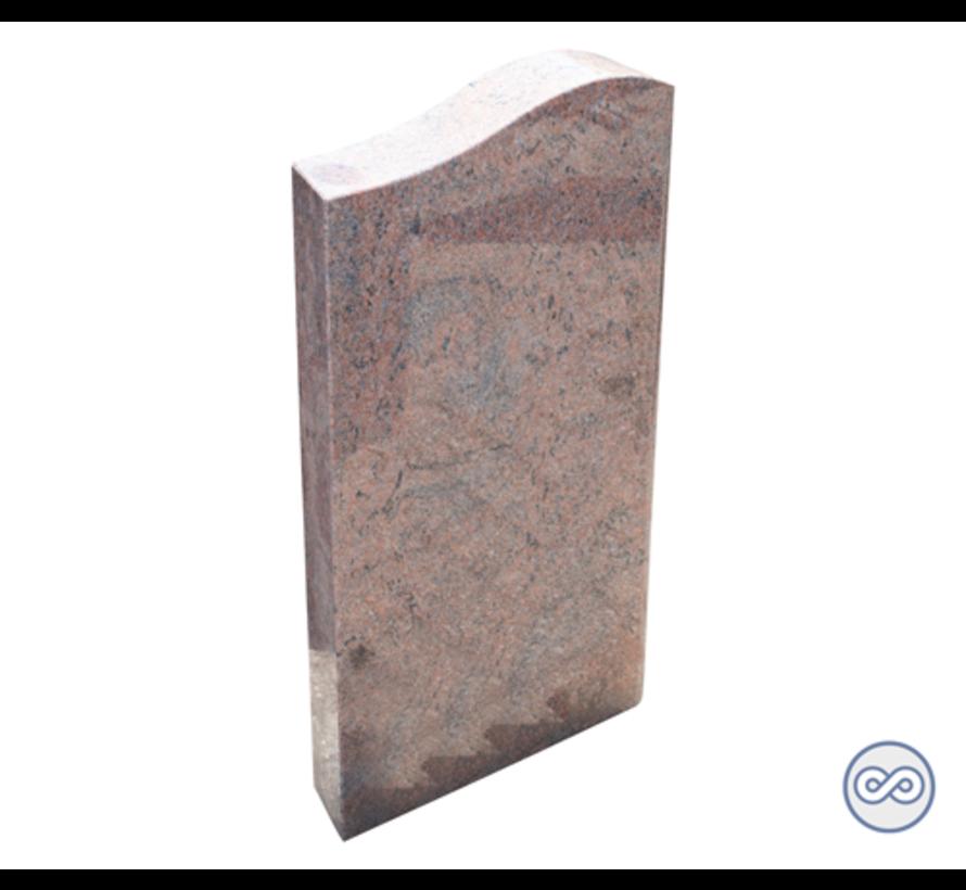 Smalle grafsteen in rood/bruin graniet