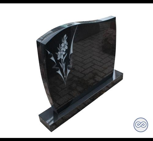Grafsteenwinkel Staande zwart granieten grafsteen met gravure