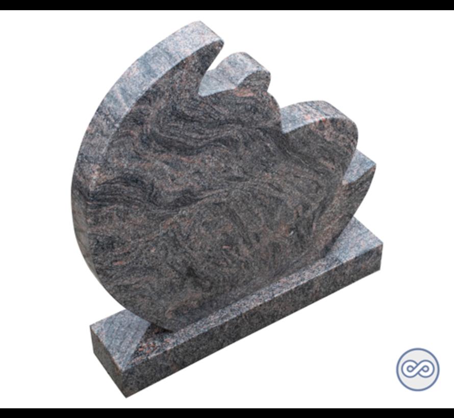 Grafsteen in de vorm van een maan