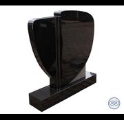 Grafsteenwinkel Staande zwart granieten grafsteen