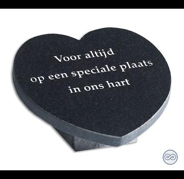 Grafsteenwinkel Hartvormige bijzetsteen met liefdevolle tekst