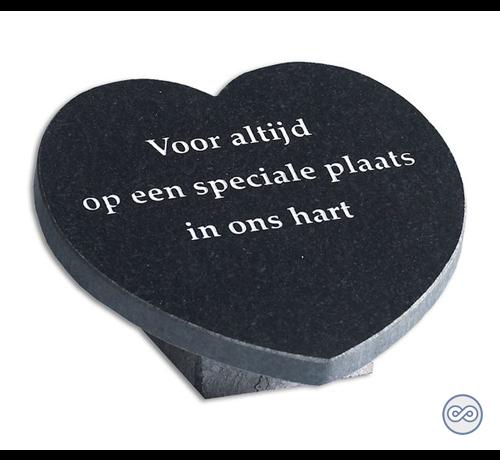 Grafsteenwinkel Hartvormige bijzetsteen van graniet met liefdevolle tekst