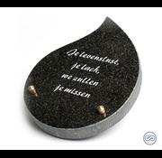 Grafsteenwinkel Druppelvormig bijzetsteentje met liefdevolle tekst